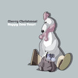 White bear with a backpack. White bear with a backpack full of snow. Happy New year! With Christmas Royalty Free Stock Photos