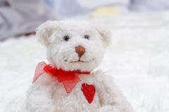 White bear in bed in baby bedroom Royalty Free Stock Photography