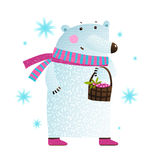 White Bear with Berries and Snowflakes Stock Image