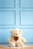 White bear in blue background. Can be used for baby photography background Stock Images