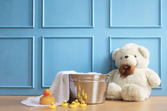 White bear in blue background. Can be used for baby photography background Royalty Free Stock Photo