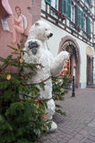 White bear for chirstmas decoration in the str. KAYSERSBERG - France - 15 December 2016 - White bear for chirstmas decoration in the street Royalty Free Stock Photo