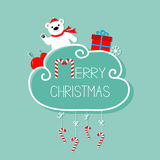 White bear, giftbox, snowflake, ball. Merry Christmas card. Hanging Candy Cane. Dash line with bow. Flat design. Blue background. Royalty Free Stock Photography