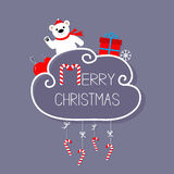 White bear, giftbox, snowflake, ball. Merry Christmas card. Hanging Candy Cane. Dash line with bow. Flat design. Violet background Stock Photos
