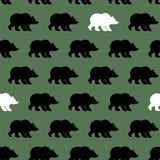 White Bear and Grizzly seamless pattern. Background of wild animals vector illustration
