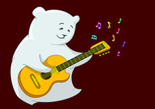 White bear-guitarist. Cheerful white bear-pillow playing a guitar, from which colour notes take off Royalty Free Stock Images