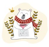 White bear having coffee in spring season with a little bee. Cute white bear having coffee in spring season with a little bee royalty free illustration
