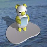 The white she-bear on an ice floe reads the letter Royalty Free Stock Photo