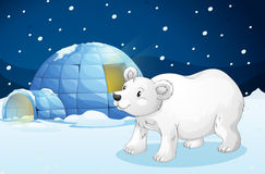 White bear and igloo Royalty Free Stock Photography