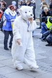 White bear mask at Carnival parade, Stuttgart Stock Photo