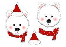 White Bear Santa Claus with Red Scarf Polka Dot. Vector Illustration.  vector illustration
