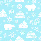 White bear seamless pattern with snowflakes white and blue royalty free illustration