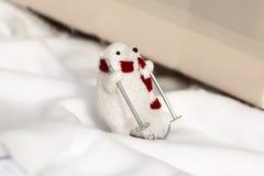 White bear on skis. Royalty Free Stock Images