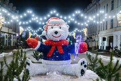White bear statue as christmass decoration. At Kyiv street royalty free stock image