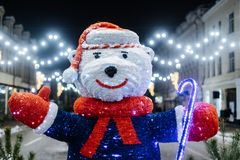 White bear statue as christmass decoration. At Kyiv street stock image