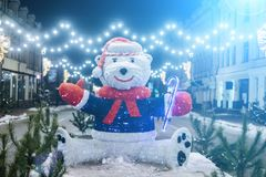 White bear statue as christmass decoration. At Kyiv street royalty free stock images