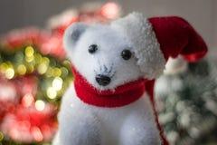 White bear toy as christmas decoration, with santa hat. Stock Photos