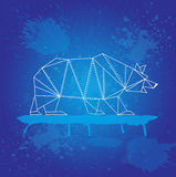 White bear from triangles outline strokes on blue background and watercolor splashes Stock Image