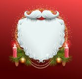 White beard of Santa Claus. Christmas greeting card template. Garland spruce branch, candle burn, golden xmas ball. Vector holiday illustration Stock Images