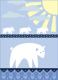 White bears family going for the fishing. Illustration stock illustration