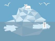White bears. Two white bears on big iceberg in sea Royalty Free Stock Photos