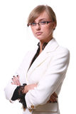 White beautiful blond business woman Royalty Free Stock Photos