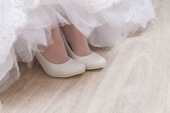 White beautiful bride shoes- wedding details Stock Photo