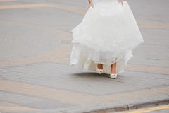 White beautiful bride shoes- wedding details Stock Photos