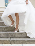 White beautiful bride shoes- wedding details royalty free stock image