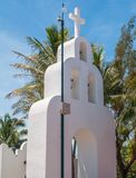 White Beautiful Catholic Church in the center of Playa del Carme stock image
