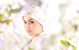 White beautiful geisha. White beautiful girl geisha,face royalty free stock photos