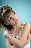 White beautiful girl with flowers in hair Royalty Free Stock Photos