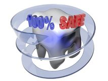 100% Safe - Dental care - 3D rendering. A white beautiful tooth is surrounded by a blue semi-transparent arrow. On the top of the tooth there is the write `100% stock illustration
