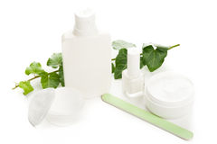 White beauty products Stock Photos