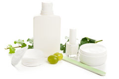White beauty products Royalty Free Stock Image