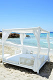 White bed in a beach club in Ibiza, Spain Royalty Free Stock Photo