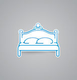 White bed icon on grey background. Vector illustration bed icon. eps10. Royalty Free Stock Photo