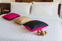 White bed with pillow Royalty Free Stock Image