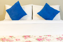 White bed , pillows , blanket, and sheet. Inside a bedroom Royalty Free Stock Photography