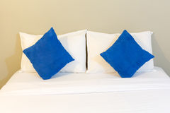 White bed , pillows , blanket, and sheet. Inside a bedroom Royalty Free Stock Images
