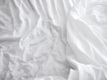 White bed sheets background and texture Royalty Free Stock Photos