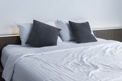 white bedding and pillow on bed Comfortable soft pillow on the b Stock Photography