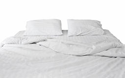 White bedding and pillow isolated on white Royalty Free Stock Image