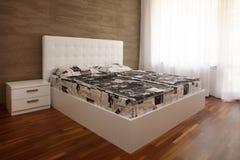 White bedroom. Modern design white sunny  bedroom Stock Photo