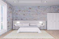 White bedroom in brick walls loft interior.  Stock Photos