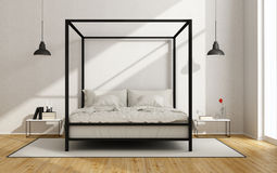 White bedroom with  canopy bed. White bedroom with canopy bed in minimalist style - 3D Rendering Stock Images