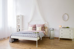 White bedroom with double bed Royalty Free Stock Image