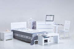 White bedroom furniture Stock Images
