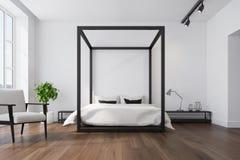 White bedroom interior, armchair stock illustration