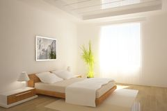 White bedroom interior design Royalty Free Stock Images